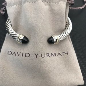 David Yurman Black Onyx 14k Gold Cable Bracelet